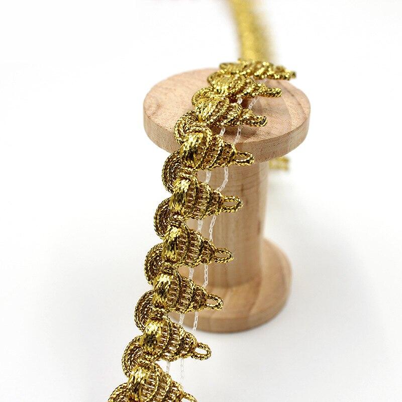 Высококачественная Золотая кружевная ткань с аппликацией, 1 ярдов, 2 см, кружевная лента с отделкой, гипюровая ткань, занавески, шнурки, Швейн...