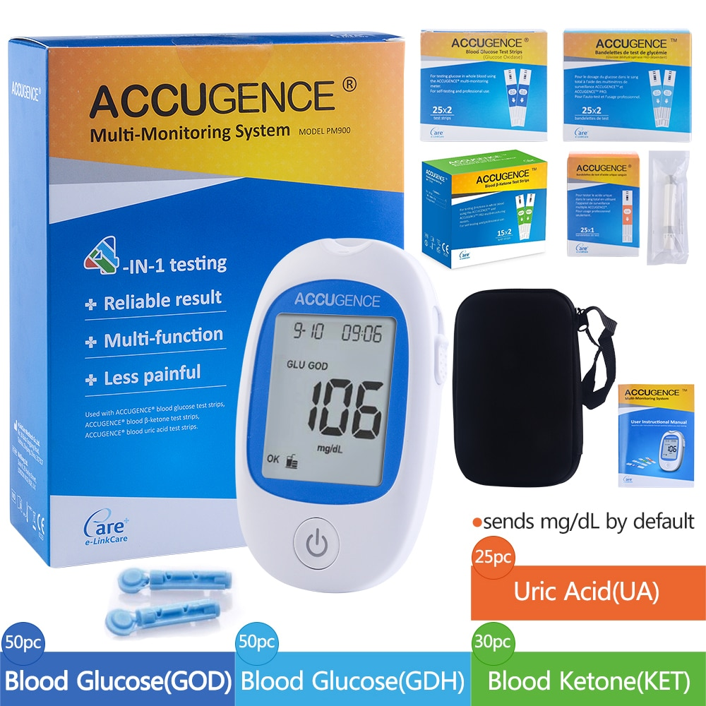 Fast 4 in1 Home Medical Multifunction Blood Glucose Meter GOD&GDH and Blood Ketone Glucometer&Uric Acid Diabetes gout Tester kit