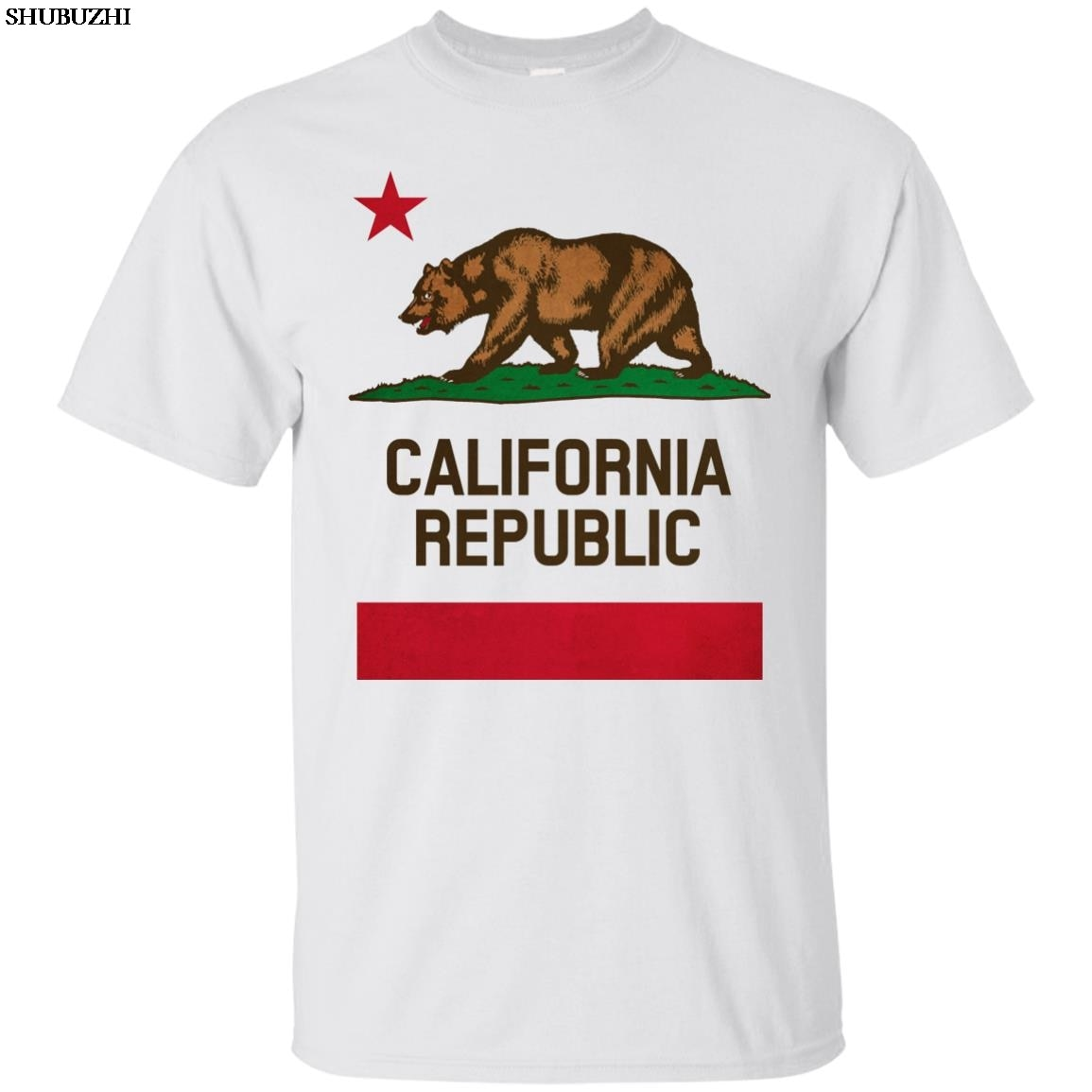California, State, флаг, Республика, медведь, Лос-Анжелес, Сакраменто, Сан-Франсиско, мультяшная Футболка Мужская Унисекс Новая модная футболка