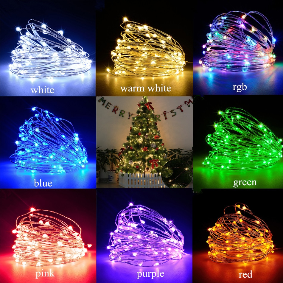 led string light 10m 5m 2m cooper wire holiday light fairy light for christmas wedding party decoration powered by battery usb LED String Lights Silver Wire Garland Powered by 5V USB Fairy light  2M 5M 10M Home Christmas Wedding Party Decoration DIY