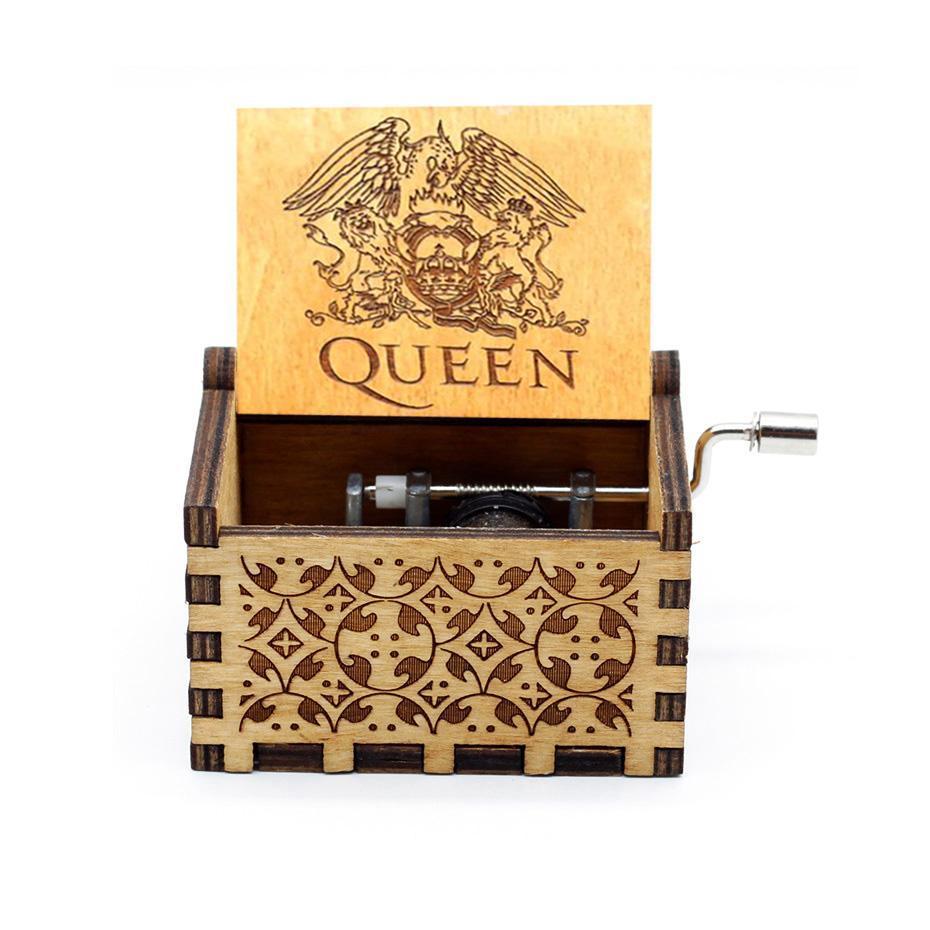 Hot Wooden Hand Crank Queen Music Box Bohemian Rhapsody Theme Digimon The Beast And Beauty Christmas
