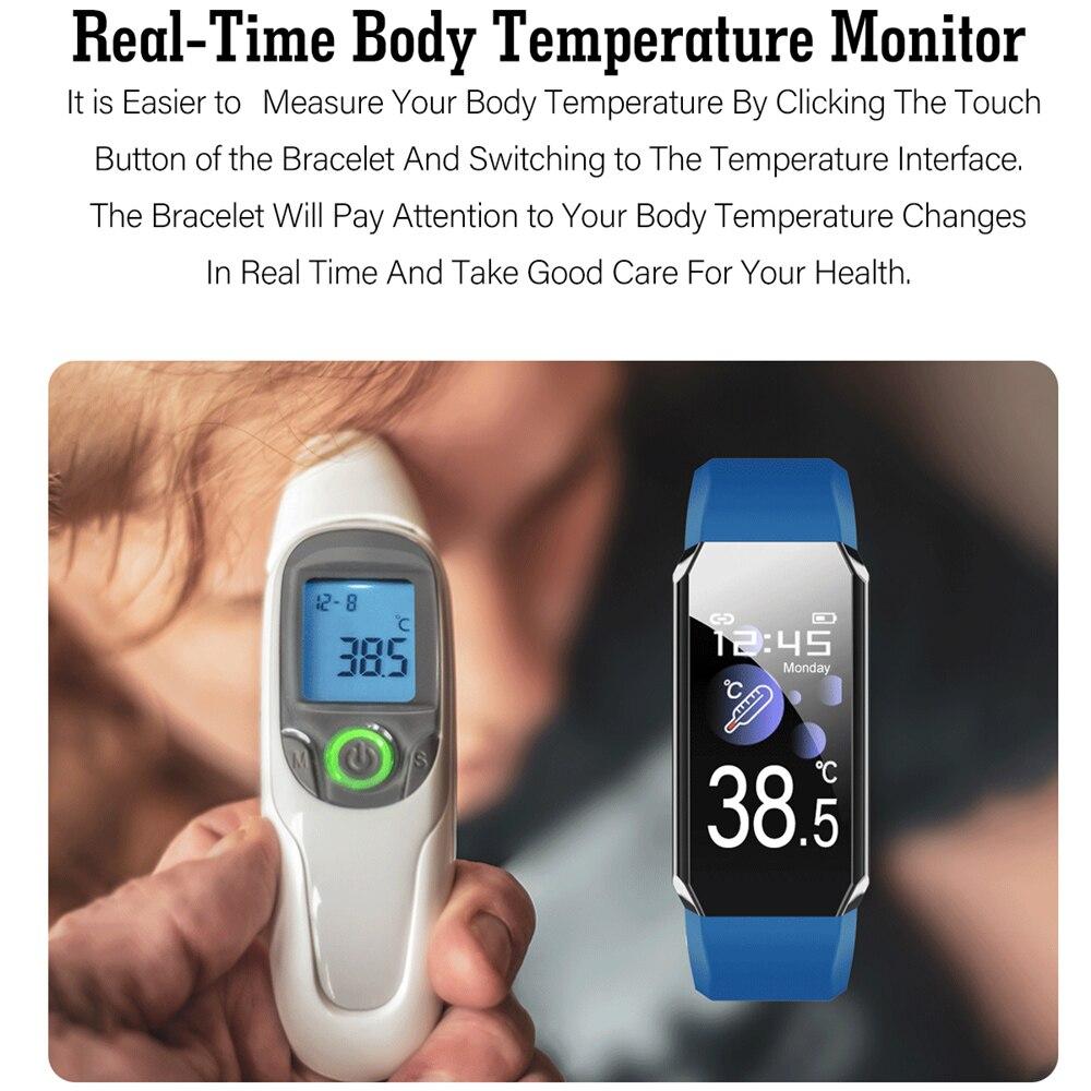 2021 أسورة ساعة ذكية الجسم ميزان الحرارة ضغط الدم سوار لياقة بدنية مقاوم للماء الرياضة الذكية الفرقة الساعات للرجال النساء