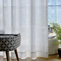 modern white geometric sheers curtains for living room tulle curtain window treatment voile drapes decor