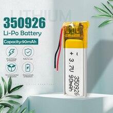 3.7v 90mah 350926 Lithium li ion polymère batterie rechargeable pour lecteur MP3 MP4 MP5 GPS DVD tablette Bluetooth caméra li-po cellule