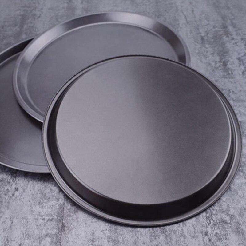 1pc Pizza placa Pan/9/10/11/12/14 pulgadas ronda superficial plato Pizza Pan de acero al carbono no-Pizza pasteles molde bandeja para hornear molde