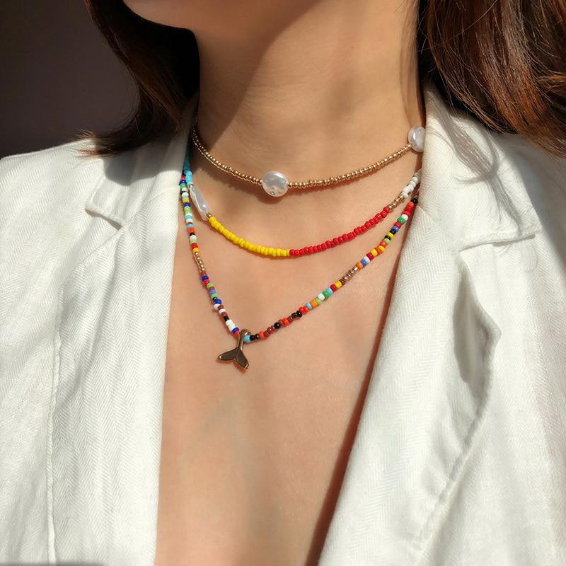 Cola de pez, perlas de imitación, cuentas de arroz de colores, conjunto de collar de cuerda elástica bohemio, regalo de viaje playero para verano para mujer