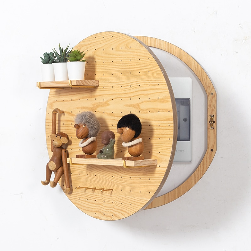 Electric Meter Box Formaldehyde Free Wall Ornament Shelf Decoration Big Round Wood Frame Cover Home Distribution Box Occlusion