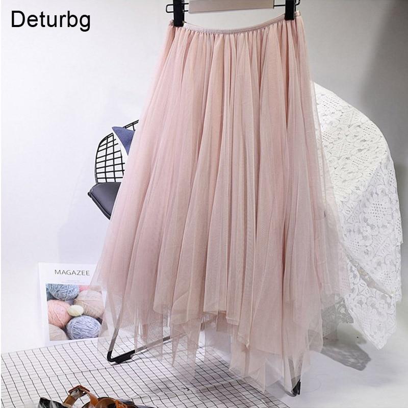 Moda mujer 3 capas Tutu tul Midi falda elástica de cintura alta Faldas plisadas irregulares Saia Faldas Saias Femininas Jupe SK171