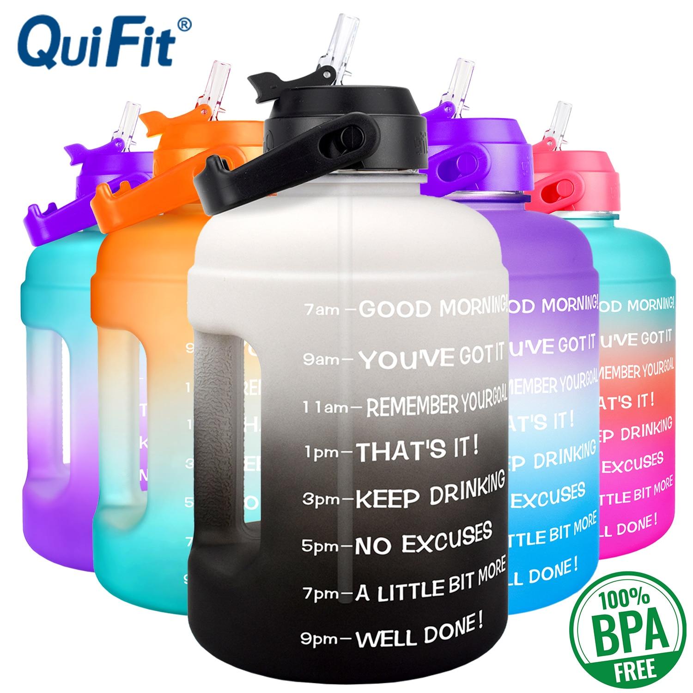 Quifit-botella de agua de 2,2 L y 73oz, jarra de agua a prueba de fugas, sin BPA, marcador de tiempo de viaje para deportes, ayuda a perder peso