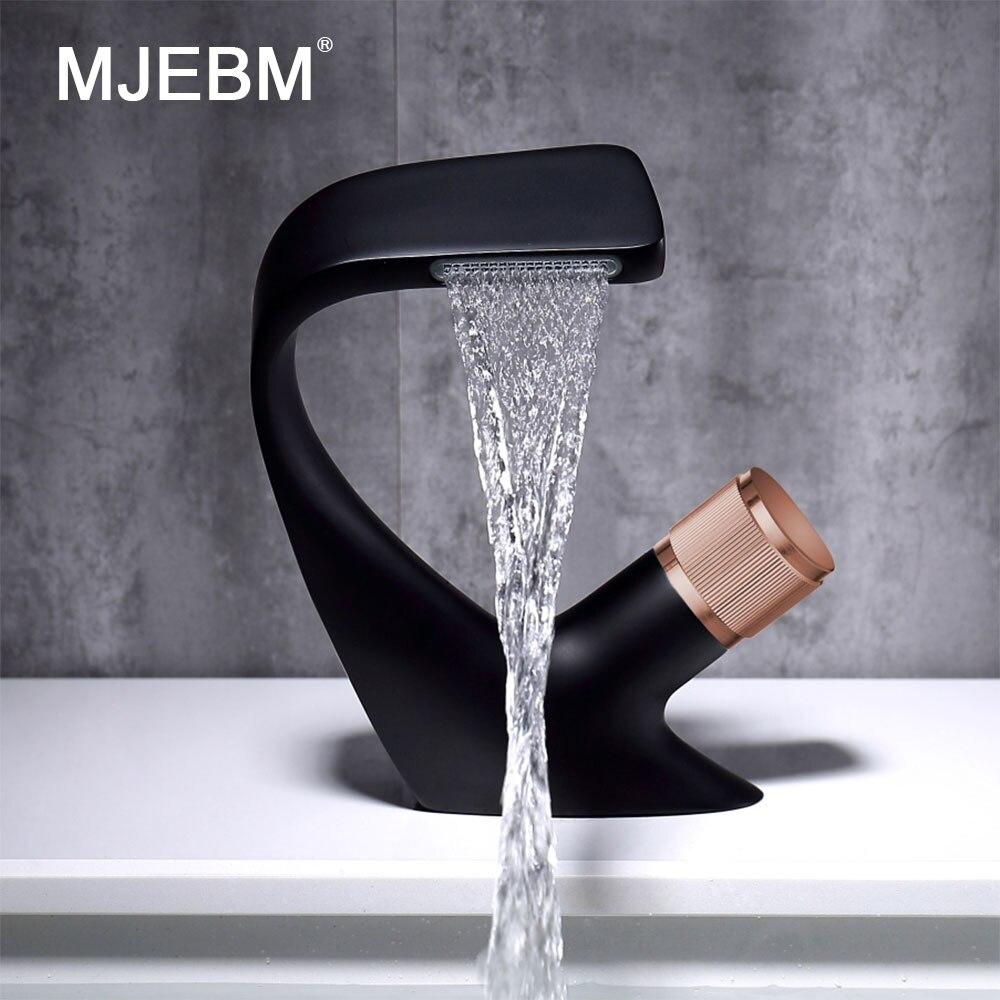 MJEBM الأسود الحديثة صنبور بالوعة الحمام صنبور المياه الباردة والساخنة ثقب واحد صنبور حوض استحمام الكروم صنبور