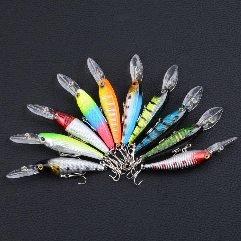 10 Uds señuelos cebo 10-Color de cebo biónico con forma de pececito atraer 9 Cm/de plástico de 8,3G cebo duro Comercio exterior Venta de pesca