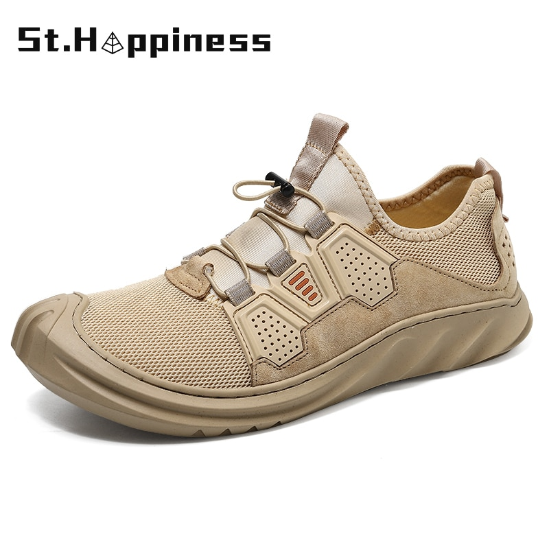 gomnear breathable mesh water shoes male outdoor swimming beach shoes big size anti skid sports trekking shoes summer sneakers 2021 New Summer Men's Fashion Casual Shoes Lightweight Mesh Breathable Soft-Soled Sports Shoes Big Size Outdoor Fitness Sneakers