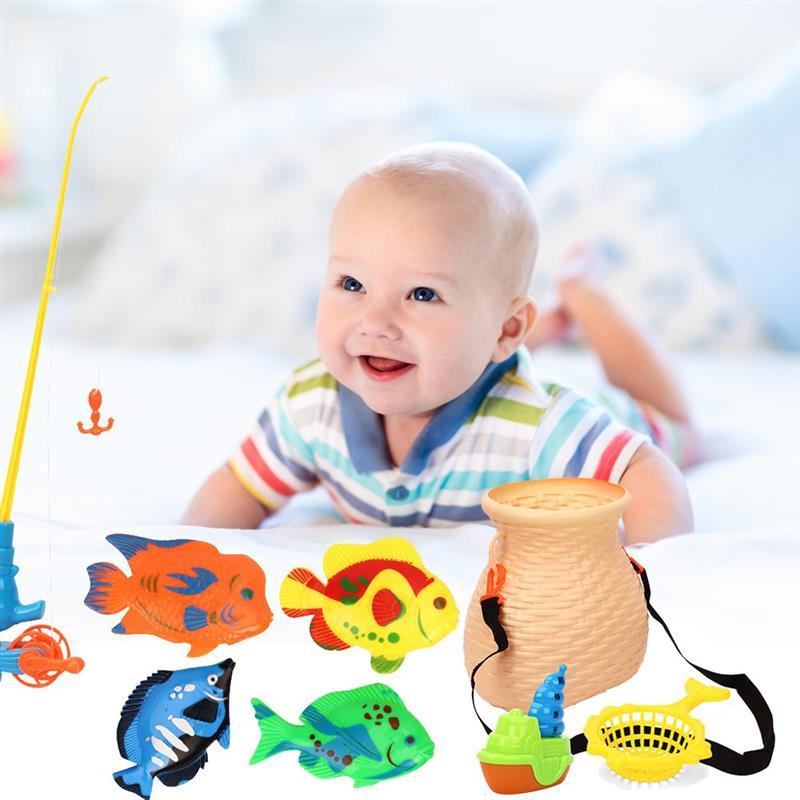 9 Pcs/Set Induction Duck Fishing Game Bath Toy Pond Pool Toy Bathing Toys Kid Educational Preschool Toy