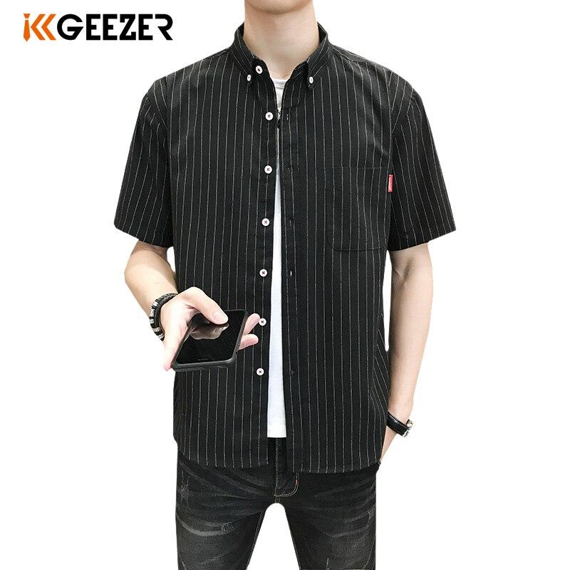 Men Shirt Striped Short Sleeve Dress Striped Formal Shirt Black New 2020 Summer Casual Slim Fit Pocket High Quality Business