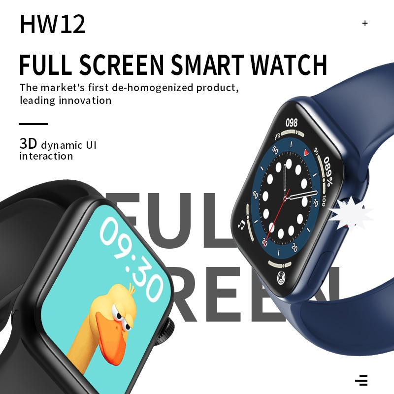 Get 5PCS HW12 HW16 Full Screen Smart Watch 44MM 40MM Women Men AK76 Smartwatch with password Split Screen Bluetooth PK IWO 13 FK88