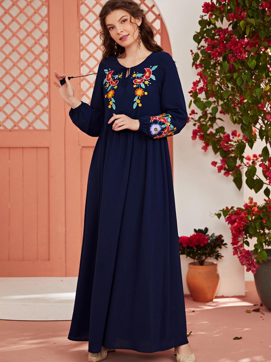 فساتين بمقاسات كبيرة للنساء 2021 عباية العيد الرمضاني دبي تركيا فستان عربي مسلم ملابس إسلامية فيستدو روب لونج قفطان