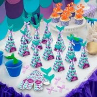 the little mermaid party candy box tableware mermaid 1st birthday party decoration kids baby shower wedding party supply