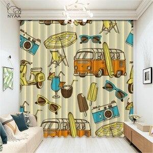 Car Travel Curtain Rod Girl Room Decoration Surfboard Camper White Curtain Home Deco Interieur Luxury Curtain Grey Micro Shading
