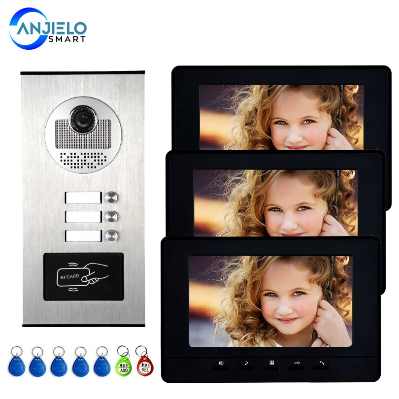 7 ''Цвет видео домофон RFID карты Камера видео-дверной звонок с 2 / 3 / 4 монитора видео-телефон двери 500 пользователя для multi квартиры