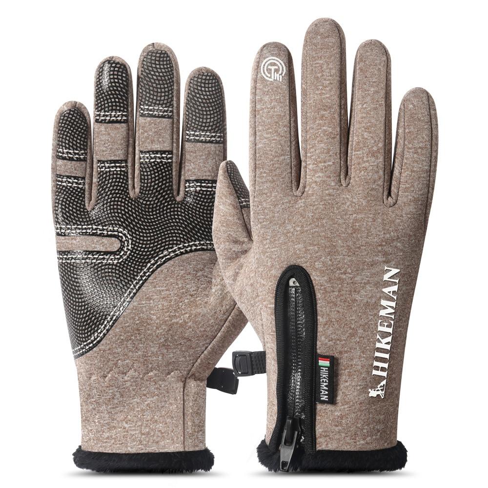 Guantes de invierno cálidos para exterior ciclismo deportivo esquí resistente al viento impermeable para hombres y mujeres dedo completo Zip Plus terciopelo Silicona