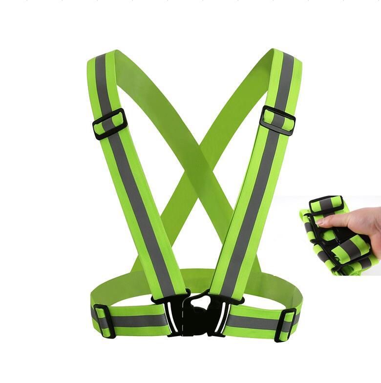 Chaleco de seguridad reflectante de neón de alta visibilidad de 360 grados Chaleco de seguridad ajustable para montar chaleco reflectante de alta elasticidad