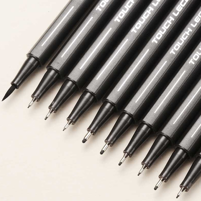 10Pcs/set Pigment Liner Micron Ink Marker Pen 0.05 0.1 0.2 0.3 0.4 0.5 Brush Tip Black Fineliner Sketching Manga Drawing Pen