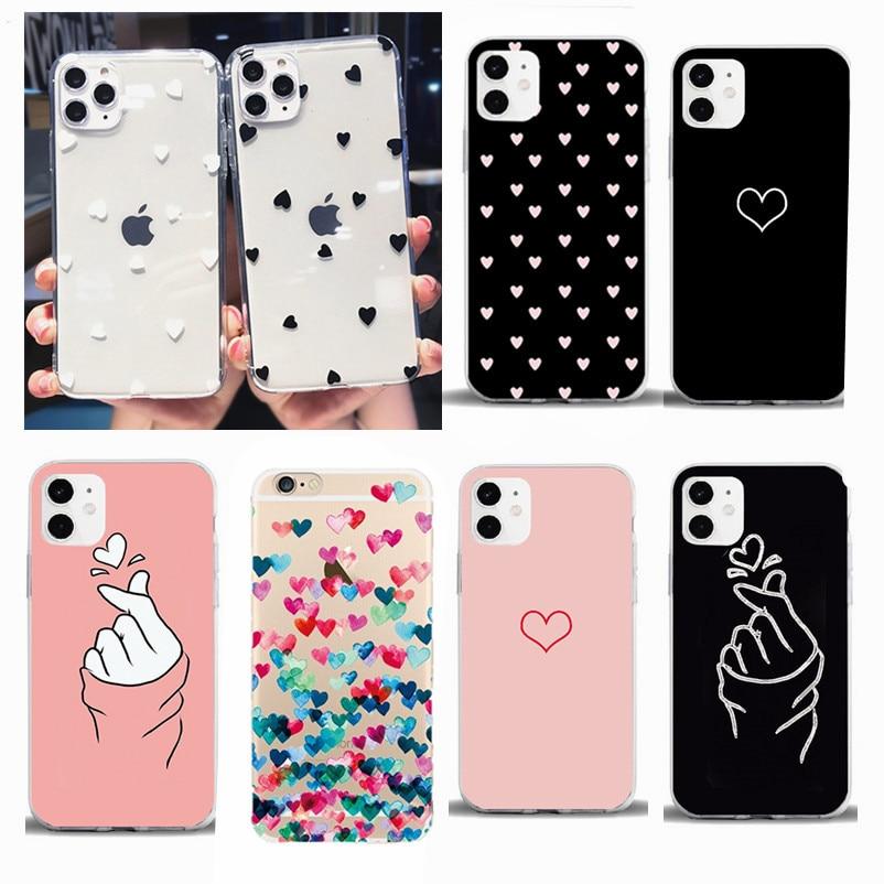 TPU Phone Cases For iPhone 11 Pro 6 6S 8Plus X XR 7Plus XS Max Cute Love Hear Clear Flower Soft Silicone Candy Case Capa Coqua
