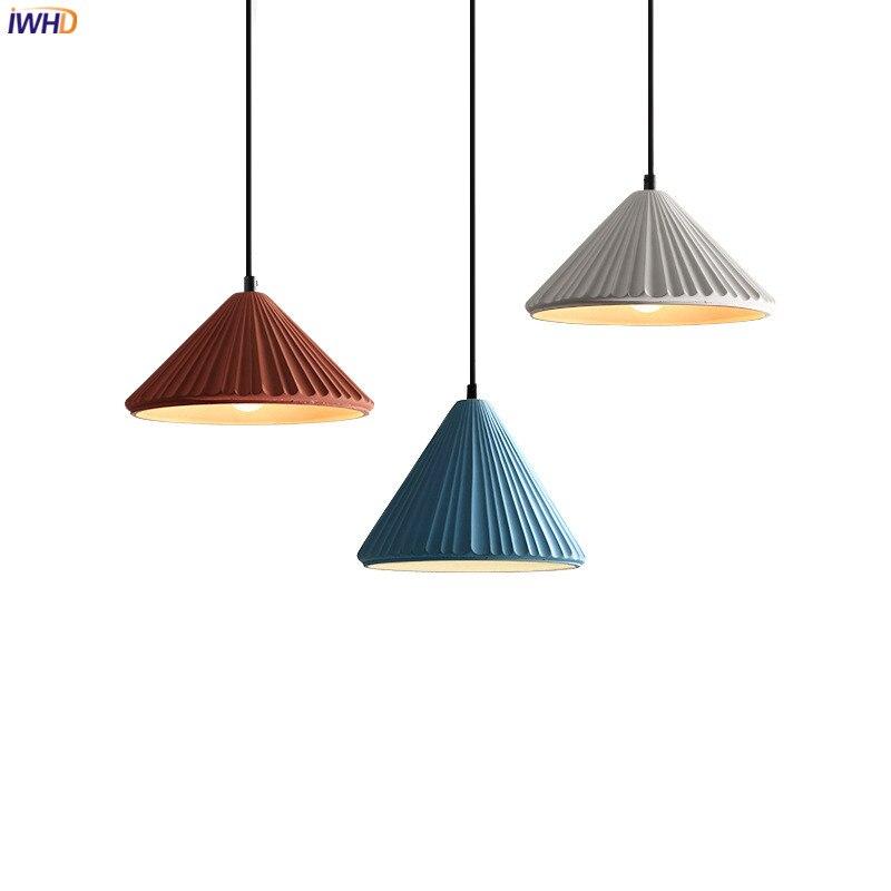 IWHD الشمال الحديثة الاسمنت قلادة LED أضواء تركيبات غرفة نوم غرفة الطعام مقهى 110 فولت-220 فولت 4 واط مصباح معلق إضاءة المنزل