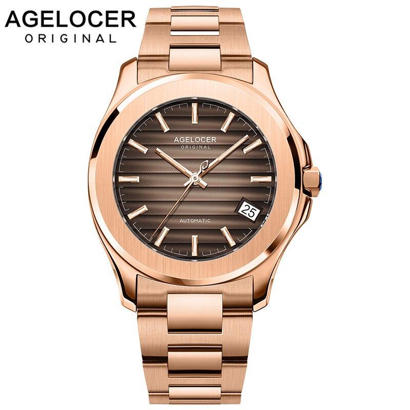 Relógio de Pulso Relógio de Ouro Relógio de Vidro de Safira Agelocer Relógios Masculinos Swiss Auto-enrolamento Automático Mecânico Marrom Marca Superior Luxo