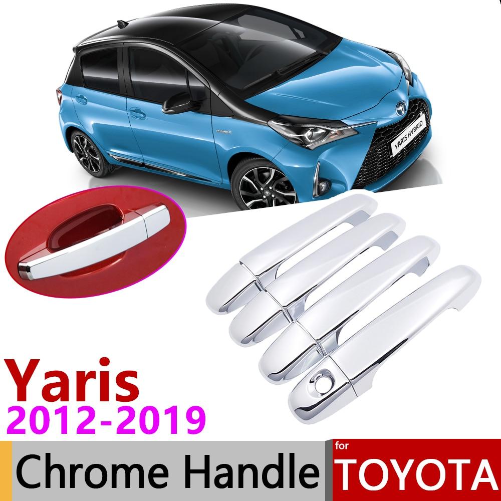 for Toyota Yaris XP130 Vitz 2012~2019 Chrome Door Handle Cover Car Accessories Stickers Trim Set 2013 2014 2015 2016 2017 2018