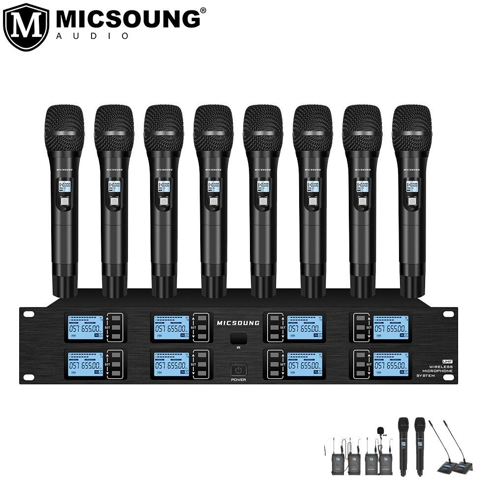 MICSOUNG-نظام ميكروفون لاسلكي احترافي UHF ، 8 قنوات ، محمول باليد/رأس lavalier/مؤتمر/أداء/تسجيل