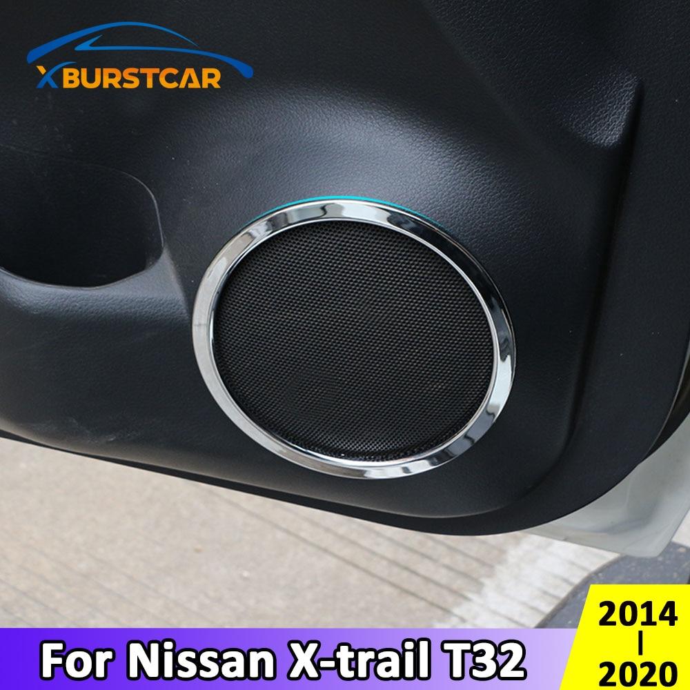 Xburstcar para Nissan x-trail Xtrail T32 2014 - 2020 ABS cromo puerta estéreo altavoz anillo cubierta accesorios de ajuste de altavoz