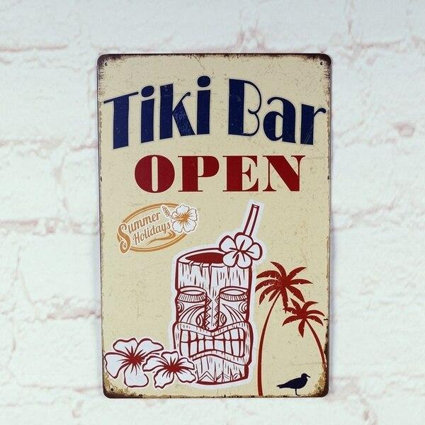Tiki Bar-cartel de lata de Metal abierto Pub Bar casa póster Retro...