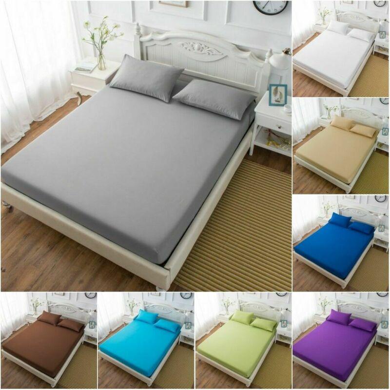 Capa de colchão de folha equipada cor sólida lixamento roupa de cama poliéster & lençóis de algodão com elástico banda dupla rainha tamanho