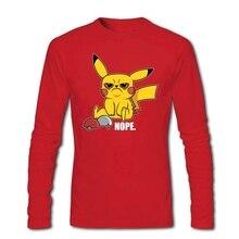 Grum Pikachu Pokemon t-shirt hommes à manches longues col rond coton 2020 nouveauté hommes t-shirts XXXL