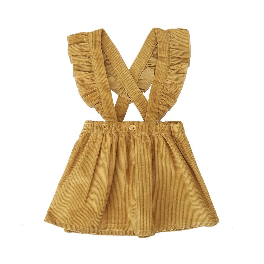 Pelele de pana para niñas, falda con tirantes, vestido veraniego Casual con volantes, Adorable ropa de verano