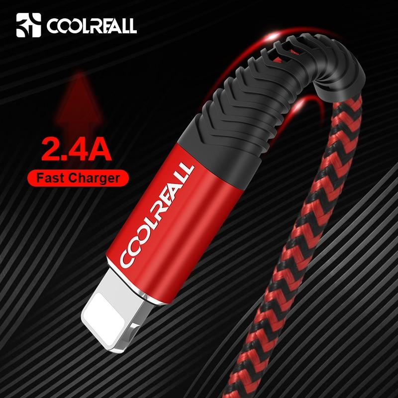 Coolreall Cable USB para iPhone 11 pro max Xr 8X6 7 además de 6s 5 5 s iPad 2.4A rápido Cable de carga de Cable de datos del teléfono móvil