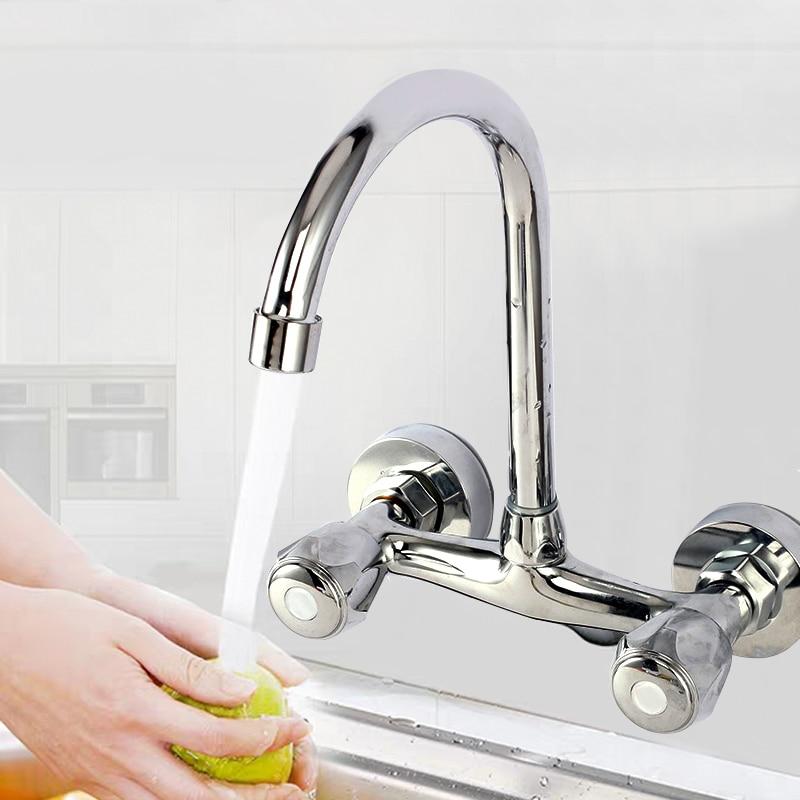 الحائط المطبخ صنبور مزدوجة مقبض بالوعة حوض الحنفية الباردة الماء الساخن خلاط صنبور المزدوج ثقب بالوعة الحمام غسل حوض صنبور الماء