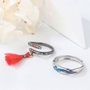 Mo Dao Zu Shi Grandmaster of Demonic Cultivation MDZS Cosplay Props Antiquity Couple Ring S925 Silver Ring