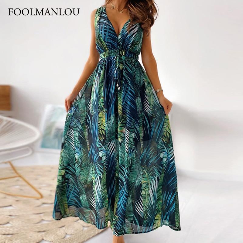 Women's Maxi Dress Vintage Print Sleeveless Boho Beach Dress Bandage Backless Casual Dresses Wrap Su