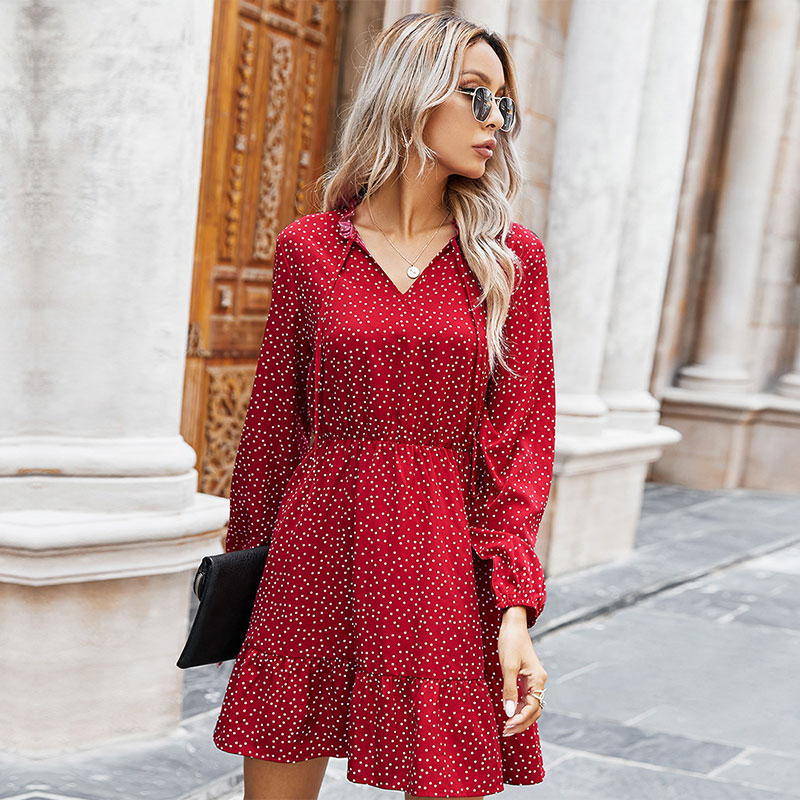 AliExpress - Ladies Spring Summer Polka Dot Print Dress Women 2021 New Casual Lace Up V Neck Full Sleeve Slim Short Dress