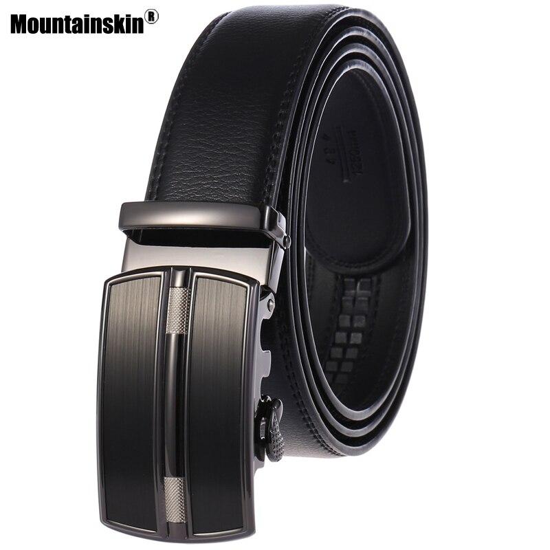 Mountainskin novo cinto masculino fivela automática letaher cinto estilo de negócios dos homens cor sólida alta qualidade cinto masculino mt052