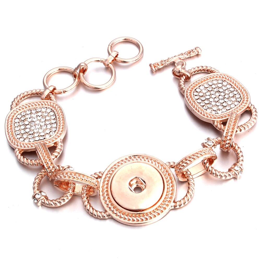 Nueva pulsera a presión, brazalete de presión de Color rosa dorado plateado, brazalete de cristal de 18MM, pulsera de botón a presión para mujeres y hombres, joyería de intercambio