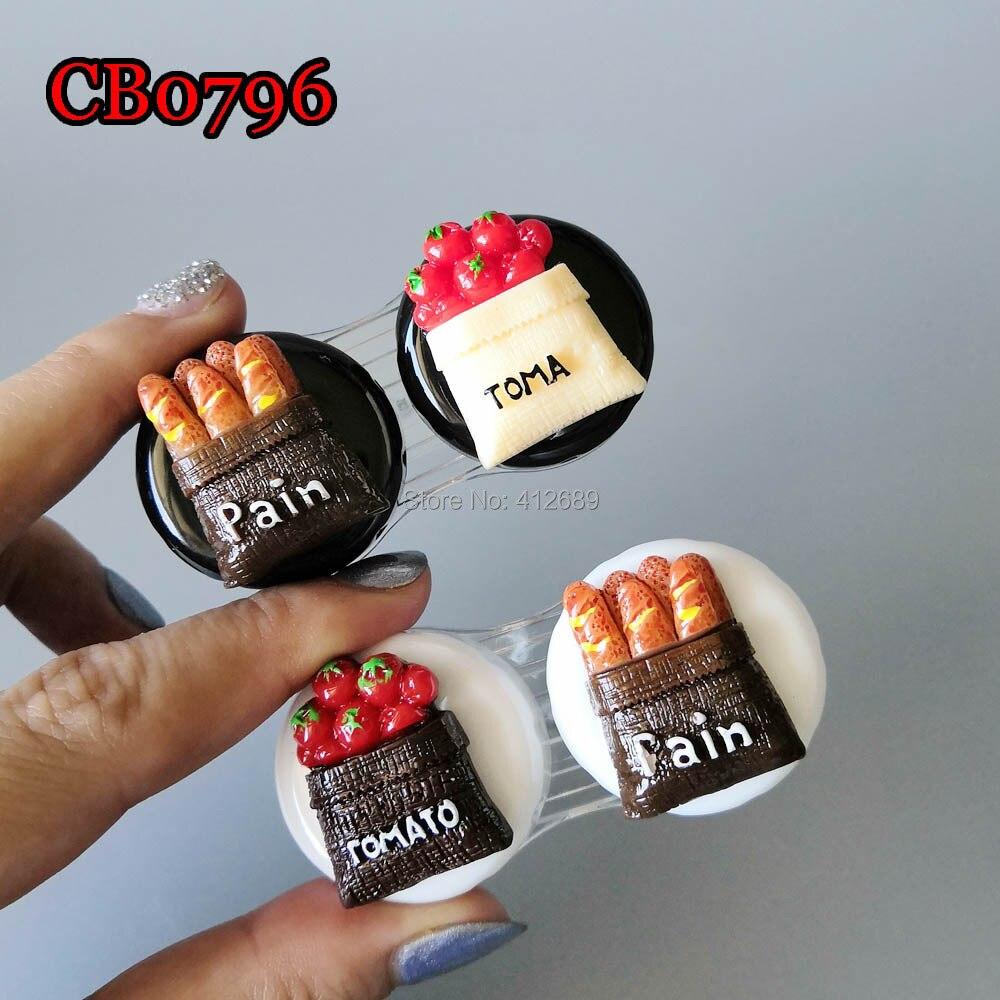 Bolso plástico lente de contato caso kit de viagem fácil tomar titular recipiente, pequeno tomate e pão caso cb0796