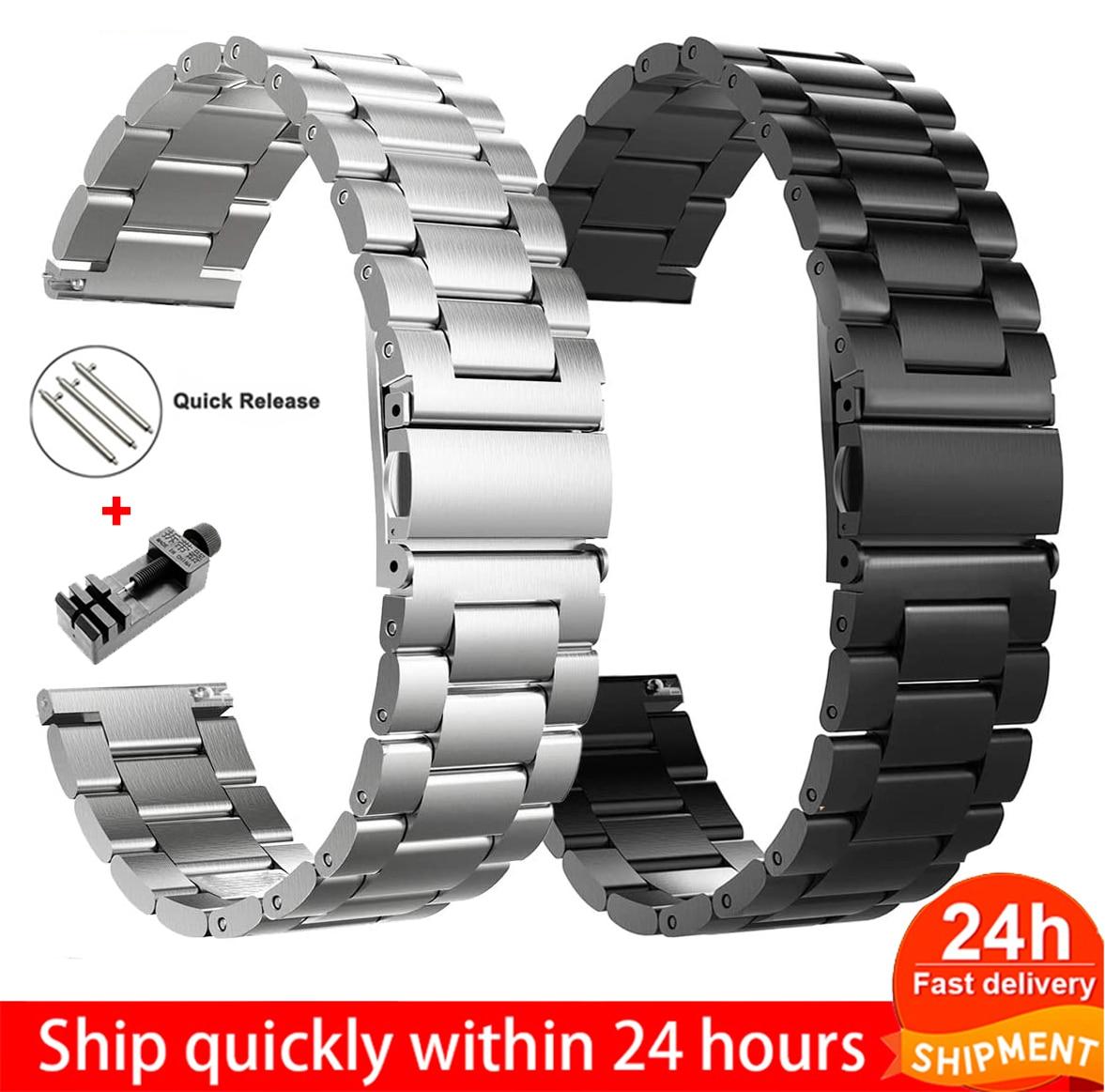 18 мм 22 мм 20 мм 24 мм ремешок для SAMSUNG Galaxy Watch 42 46 мм gear S3 Active2 ремешок из нержавеющей стали для Amazfit Bip GTR ремень
