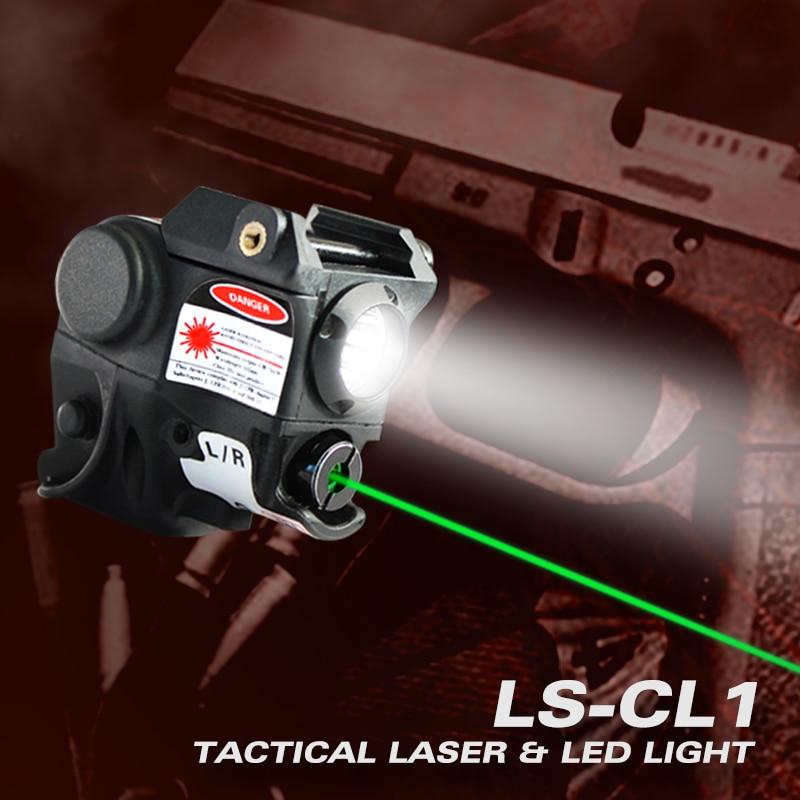 Lanterna laser glock 19 com mira a laser, para pistola de arma, picatinny rail, compacto, tático, ponto vermelho