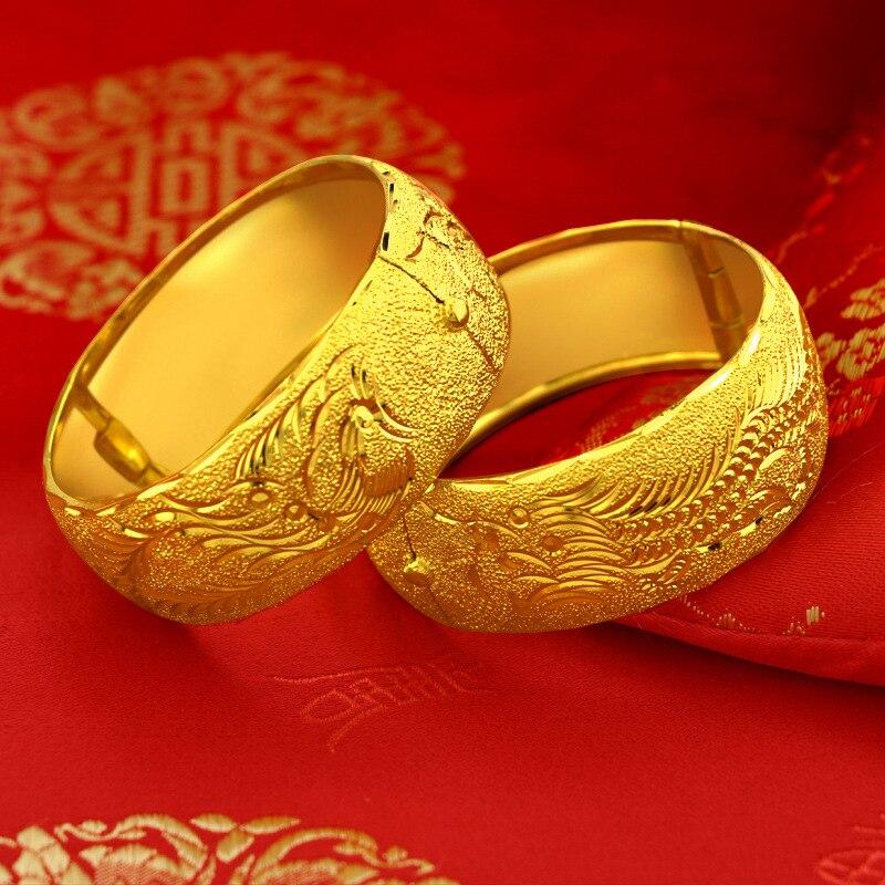 25 مللي متر التنين فينيكس مطلية بالذهب سوار للنساء الإناث العروس الزفاف الذهب الإسورة سوار الخطوبة غرامة مجوهرات هدايا