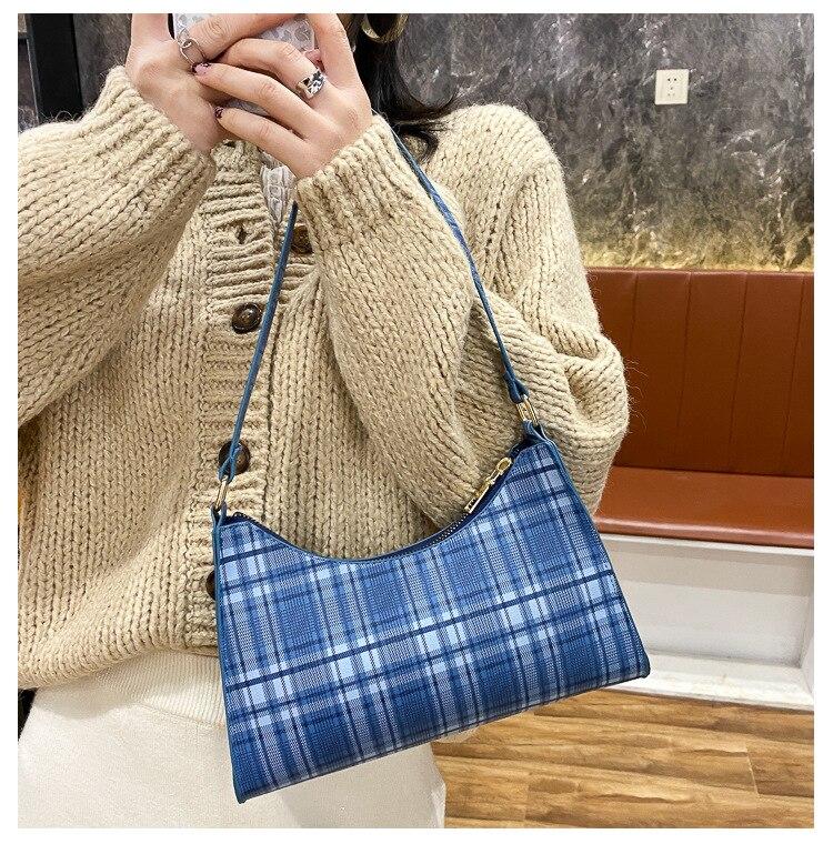 Spring New Plaid Baguette Bag for Women PU Casual Underarm Bag Ladies Fashion Handbags Soft Handle Zipper Shoulder Bags