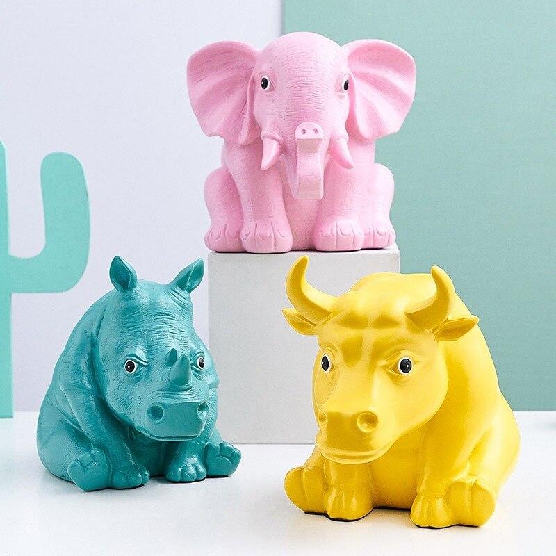 Figura de escultura artesanal de elefante de animales de resina de estilo nórdico, accesorios de decoración de escritorio para el hogar, juguetes de resina de arte moderno para niños