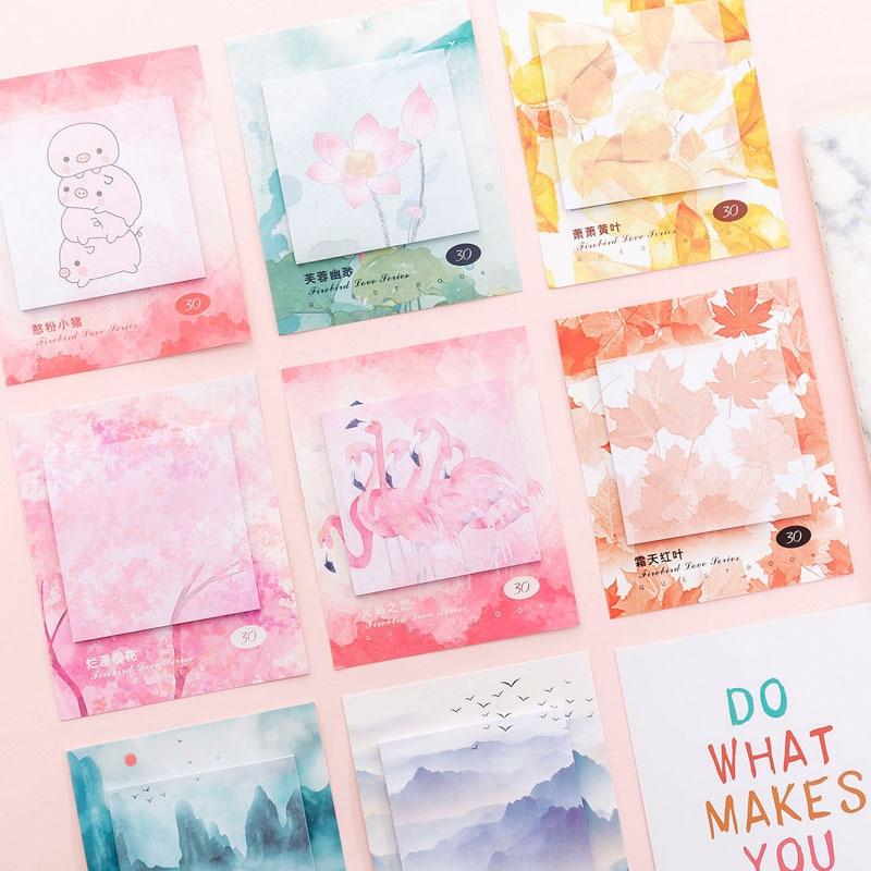 Kawaii flamenco planificador de bloc de notas pegatinas libretas de papel lindas flores de cerezo notas adhesivas escuela publicado papelería coreana
